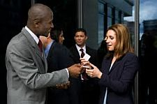 business networking and exchanging business cards